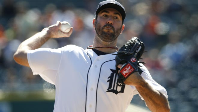 Tigers pitcher Justin Verlander throws against the Chicago White Sox in the first inning of a baseball game in Detroit Wednesday.