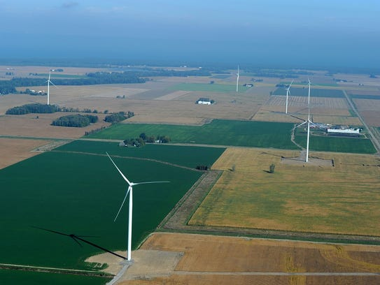 DTE Energy's Thumb Wind Park is seen in this 2013 aerial