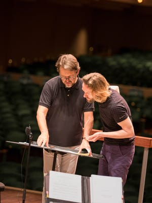 "Naples Philharmonic Music Director Andrey Boreyko works with composer Gabriel Prokofiev on ""Olga's Miniatures."" It is the second work commissioned from him by the Philharmonic."