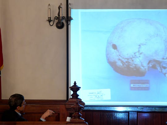 Forensic Pathologists Marco Ross explained how the hole found on the back right of the skull in the photo was made. The bones, which were found in the woods in 2014, were found along with other items belonging to Holly Bobo. Day three of the Holly Bobo murder trial was held Wednesday, September 13, in Savannah, Tenn. Zach Adams is charged with felony first-degree murder, especially aggravated kidnapping, aggravated rape of Holly Bobo.