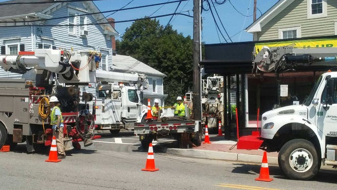 A utility pole was struck on West Main Street near Maple Avenue at about noon Thursday.
