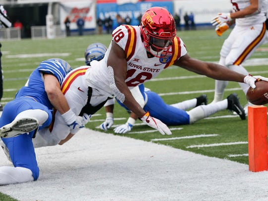owa State Cyclones wide receiver Hakeem Butler (18) steps out of bounds on a catch and run during the second half of the AutoZone Liberty Bowl Saturday, Dec. 30, 2017, in Memphis, Tennessee. ISU defeated Memphis 21-20.