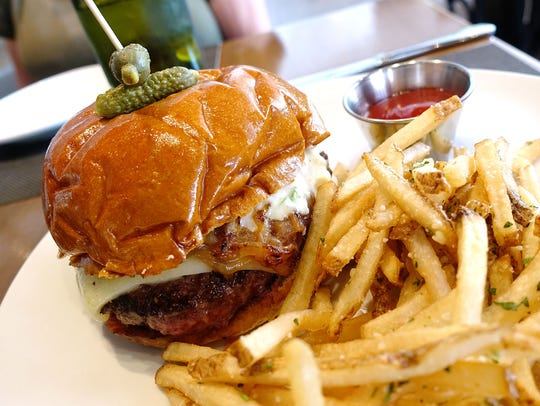 Bistro burger with white cheddar, caramelized onions,