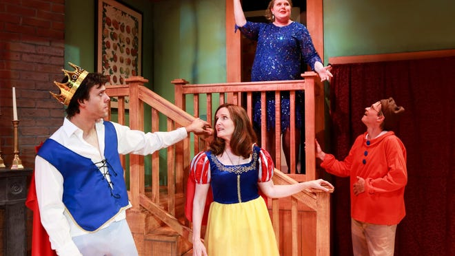 """Spike (Peter Keller), left to right, Masha (Amy Lemon Olson) and Vanya (Geoff Tarson) react to Sonia's (Samantha Jones) grand entrance as she unveils her costume for the party during a rehearsal of Half Moon Theatre's """"Vanya and Sonia and Masha and Spike,"""" which is playing at at the Culinary Institute of America's Marriott Pavilion Theatre weekends through May 8."""