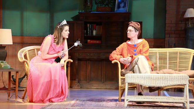 """Nina (Melissa Marye Lehman) and Vanya (Geoff Tarson) get ready for the costume party and discuss artistic pursuits. """"Vanya and Sonia and Masha and Spike"""" is playing at Half Moon Theatre at The Culinary Institute of America's Marriott Pavilion in Hyde Park weekends through May 8."""