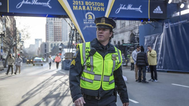 """In this image released by CBS Films, Mark Wahlberg appears on the set of the film, """"Patriots Day."""""""