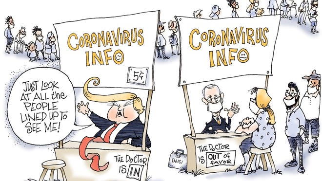 Signe cartoon\rTOON16\rTrump Fauci Coronavirus