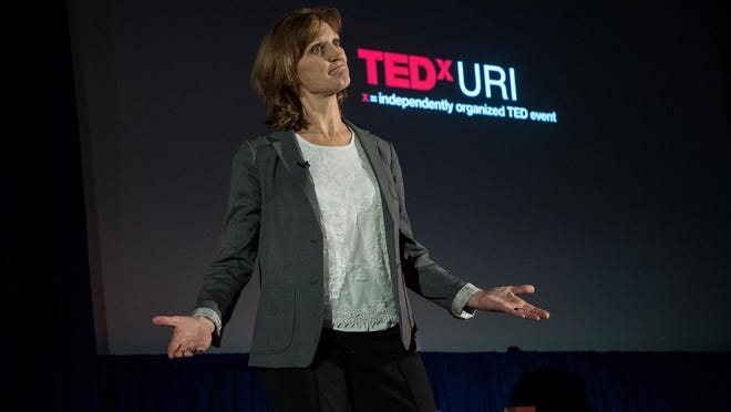 URI business Prof. Nancy Forster-Hold speaks about the future of small businesses at the 2018 TEDxURI event.