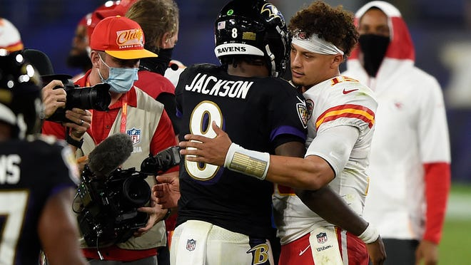 The matchup between the Ravens and Chiefs Monday night was a dream for football fans, but trying to prepare for Kansas City quarterback Patrick Mahomes, right, heading into Sunday is the challenge before the Patriots coaches.