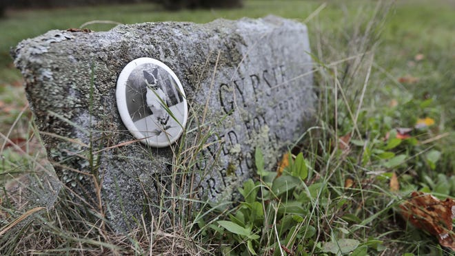 Some graves feature the photo of the animal, at the old Kempton Memorial Pet Cemetery in Acushnet.