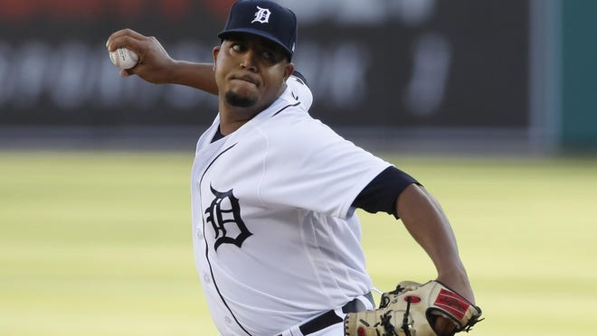 Detroit Tigers starting pitcher Rony Garcia throws during the first inning of a baseball game against the Kansas City Royals, Tuesday, July 28, 2020, in Detroit.