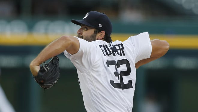 Detroit Tigers starting pitcher Michael Fulmer throws during the team's baseball game against the Kansas City Royals, Monday, July 27, 2020, in Detroit.