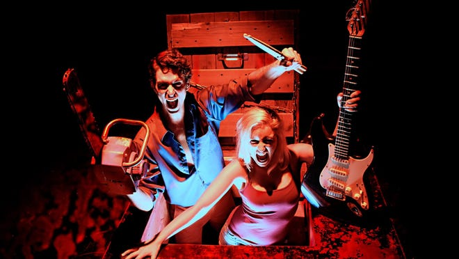 """Steve Xander Carson and Kelly Klopocinski star in """"Evil Dead: The Musical,"""" playing Oct. 1-25 at Detroit's City Theatre."""