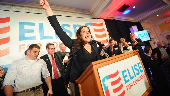 Elise Stefanik celebrates her win in the 21st Congressional District on election night at the Queensbury Hotel in Glens Falls.