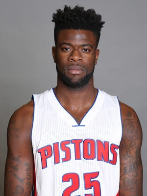Sep 26, 2016; Auburn Hills, MI, USA; Pistons forward Reggie Bullock poses during media day at the Pistons Practice Facility.