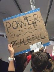 Sign of a San Francisco demonstrator on Jan. 29, 2017.