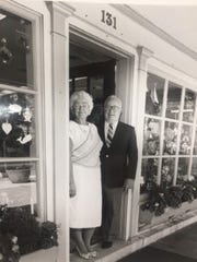 Hank and Bette Harrison stand outside their Haddonfield store when it was still called Farrow's in this undated photo.