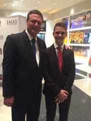 FGCU coach Joe Dooley's son, Max, with Kansas coach Bill Self during the latter's induction into the Naismith Memorial Basketball Hall of Fame in Springfield, Massachussets, last year.