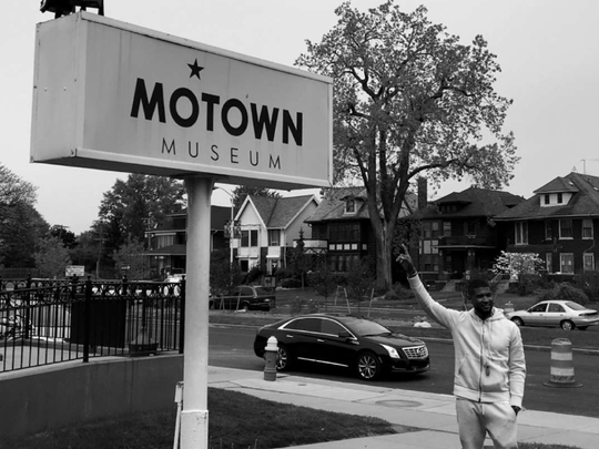 Usher took this photo while visiting the Motown Historical Museum on Tuesday.