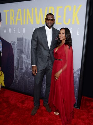 LeBron James and wife Savannah Brinson at the 'Trainwreck' premiere on July 14.