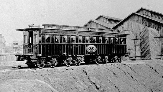 Only grainy black-and-white photographs exist of the historic train car used to transport President Abraham Lincoln's body to his hometown in Springfield, Ill. after he was assassinated in 1865.