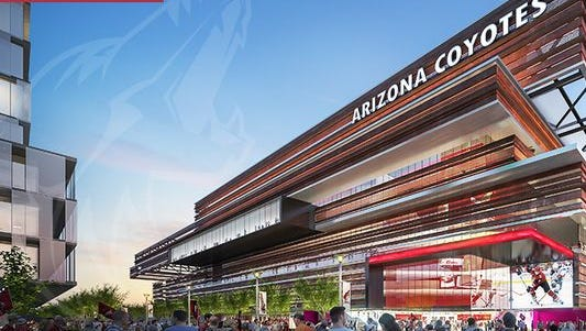 An artist's rendering of a proposed Arizona Coyotes arena in Tempe, which would be built in cooperation with Arizona State University.