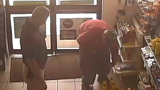 Surveillance footage has been released showing 38-year-old William Jason Hall walking into the store and exiting with a little extra baggage in his pants.