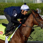 Kentucky Derby hopeful Normandy Invasion, with exercise rider Javier Herrera aboard, works alone at Churchill Downs in Louisville, Ky., Sunday, April 21, 2013. (AP Photo/Garry Jones)