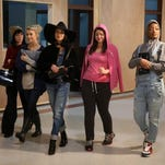 """Carly Rae Jepsen, from left, Julianne Hough, Vanessa Hudgens, Kether Donohue and Keke Palmer rehears a scene fro """"Grease:Live,"""" airing Sunday."""