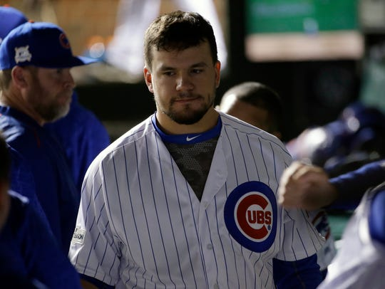 FILE - In this Oct. 19, 2017, file photo, Chicago Cubs'
