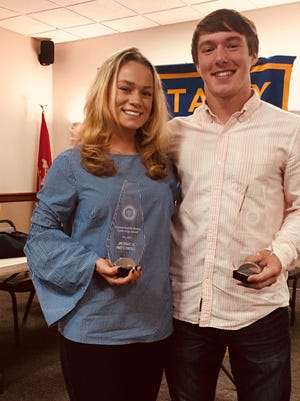 The first recipients of the Clinton Sunrise Rotary Leadership Award,  North Hunterdon Seniors Jessica Mitchell and Kyle Hensler.