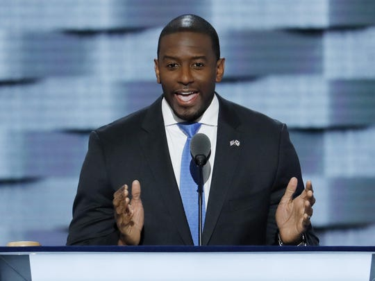 Andrew Gillum, mayor of Tallahassee, speaks during the third day of the Democratic National Convention in Philadelphia.