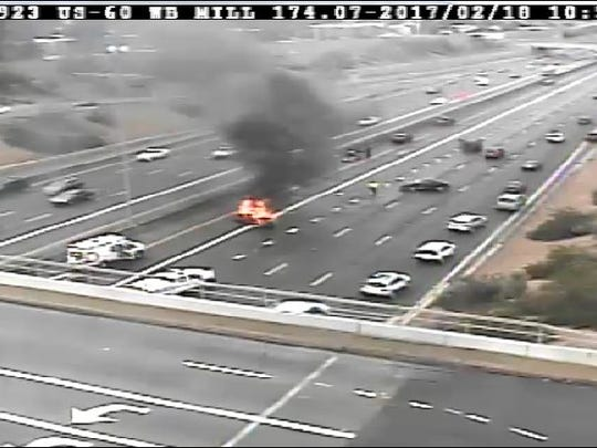A car caught fire off of the U.S. 60 near Mill Avenue