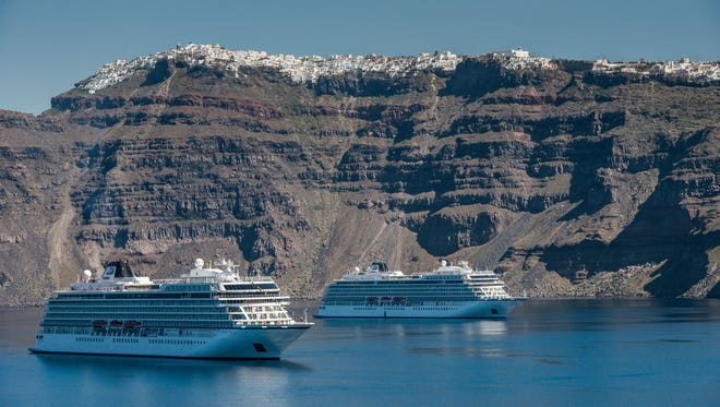 Viking Sun will be a sister to the recently unveiled Viking Sea and Viking Star, shown here in Santorini, Greece. With a capacity for 930 passengers, the ships are modest in size as compared to many of the megaships being built today by mainstream cruise lines.