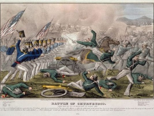 """Battle of Churubusco--Fought near the city of Mexico 20th of August 1847 / J. Cameron."" Hand tinted lithograph. Library of Congress"