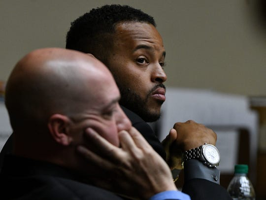 Norman Eugene Clark and his attorney Kit Rodgers, front, during his second murder trial Tuesday, Sep. 12, 2017. Clark is accused of killing his girlfriend, Brittany Eldridge, and their unborn son. The trial is in Knox County Criminal Court before Judge Steven Sword.