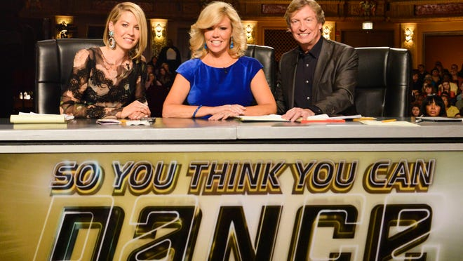 SO YOU THINK YOU CAN DANCE: L-R: Guest Judge Jenna Elfman, Mary Murphy and Nigel Lythgoe judge the competition at the Chicago auditions for the 11th season of SO YOU THINK YOU CAN DANCE premiering Wednesday, May 28 (8:00-10:00 PM ET/PT) on FOX. ©2014 Fox Broadcasting Co. CR: Chris Tomko/FOX