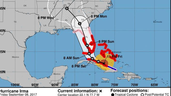 The official forecast track as of 11 p.m. Friday.