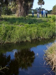 A team of environmental specialists meet near Bear Branch during a scientific survey of Charlotte County tidal creeks for a restoration project.
