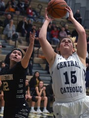 Knights senior center Libby Bonner drives to the basket