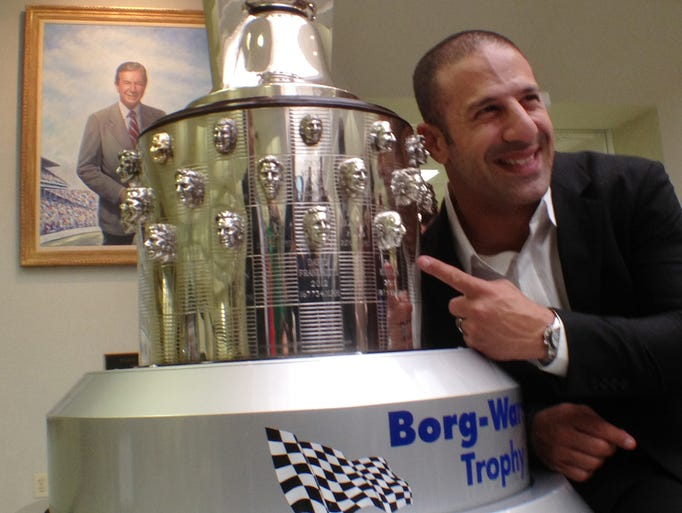 2013 Indianapolis 500 winner, Tony Kanaan  got his first look at in image on the Borg-Warner trophy, Monday, December 2, 2013. At The Indianapolis Motor Speedway, Hall of Fame Museum