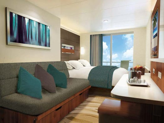 A rendering of a balcony cabin on the Norwegian Escape.