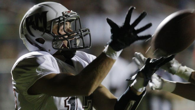Gabriel Maldonado of Rancho Mirage High School makes a catch during a play against Desert Hot Springs High School on November 4, 2016 at Desert Hot Springs.
