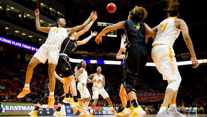 Tennessee's Jaime Nared (31) reaches for the rebound during an NCAA basketball game between Tennessee and Missouri on Thursday, Feb. 9, 2017, at Thompson-Boling Arena in Knoxville.