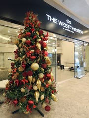 A festive tree greets visitors at the valet area at