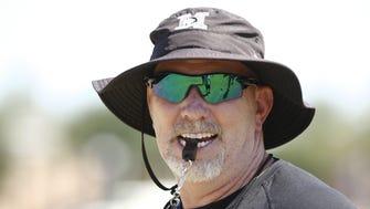 Hamilton High's coach Steve Belles during spring football camp on Wednesday, April. 29, 2015 in Chandler, AZ.