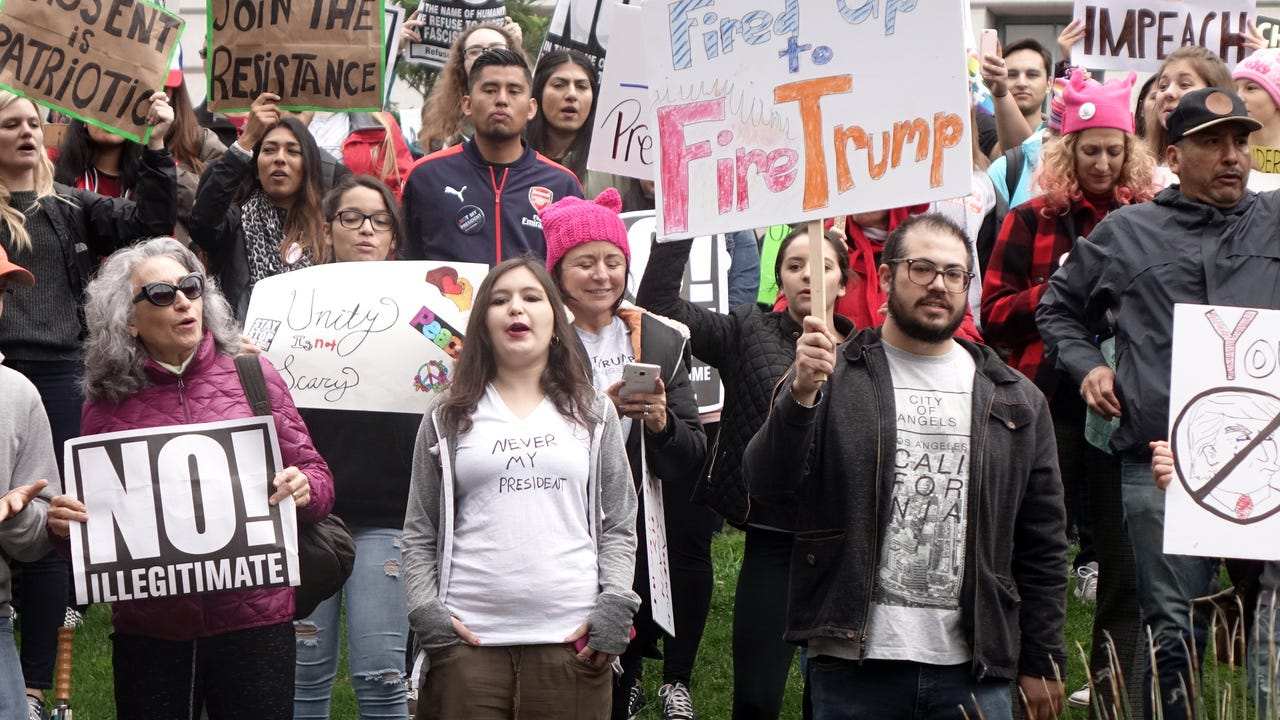 Scenes from the 'Not my President' rally in Los Angeles, to protest Donald Trump and his administration.