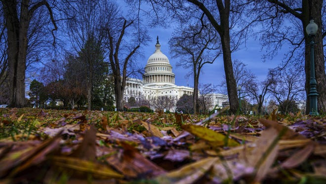 The Capitol is seen in Washington, early Wednesday, Dec. 11, 2019. Voting on two articles of impeachment against President Trump is expected in a matter of days by the Judiciary Committee and by Christmas in the full House. (AP Photo/J. Scott Applewhite)