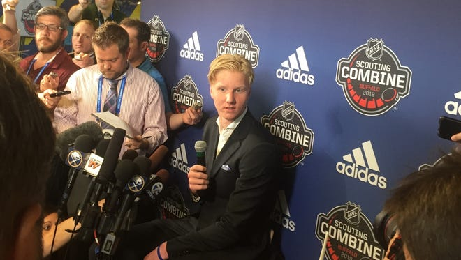 Rasmus Dahlin of Sweden, the projected No. 1 overall pick in June's NHL Draft, meets the media in Buffalo on Friday. The Sabres own the top pick and Dahlin is already home.
