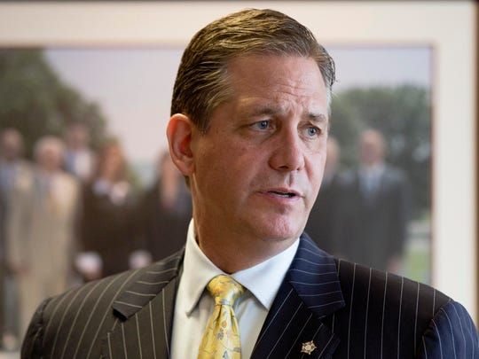 FILE - In this file photo taken July 7, 2015, former Montgomery district attorney Bruce Castor speaks during an interview with The Associated Press in Norristown, Pa. Attorney General Kathleen Kane announced Tuesday, March 29, 2016 that she made Castor her solicitor general as of March 21, at a salary of $150,000. (AP Photo/Matt Rourke, File)